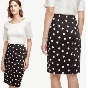 NWT ANN TAYLOR Pencil Skirt, Black Polka Dot, 4P